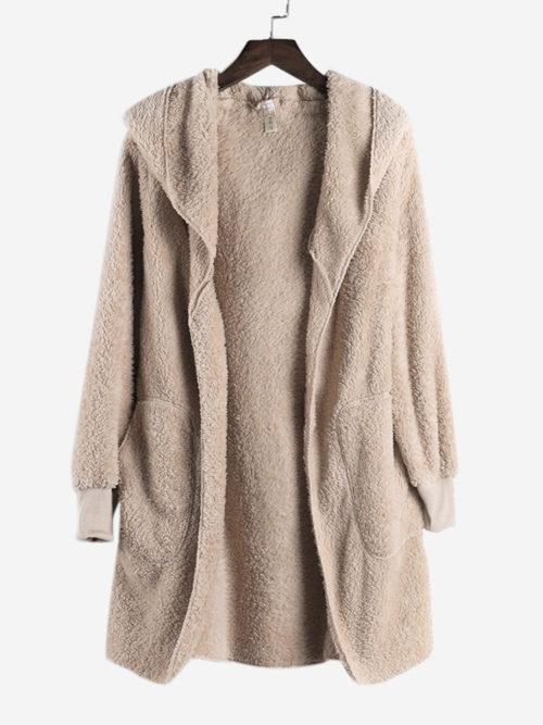 Fleece Hooded Pocket Solid Color Long Sleeve Coats