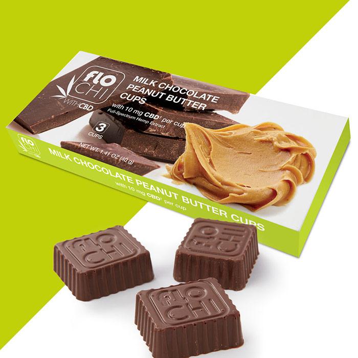 FloChi CBD Milk Chocolate Peanut Butter Cups, 10 mg CBD, 1.41 oz (40 g), Irwin Naturals