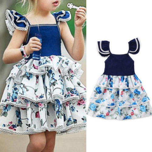 Floral Toddler Girls Sleeveless Casual Layered Princess Dress For 1Y-7Y