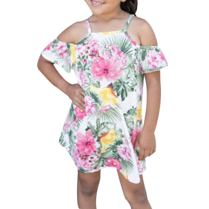 Flower Girls Off Shoulder Strap Dress Kids Casual Summer Clothes For 1Y-6Y