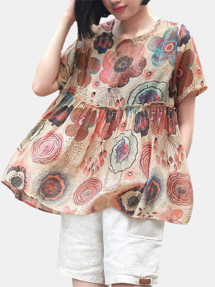 Flower Print Patched Short Sleeve Casual Overhead Blouse