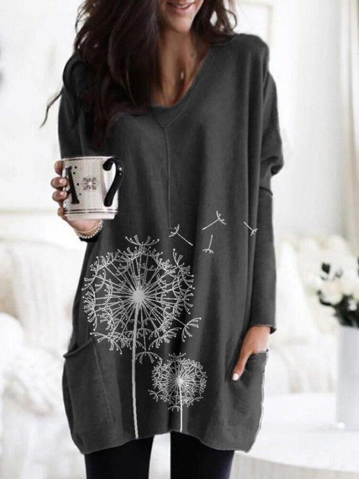 Flower Print Pockets Long Sleeve Loose Blouse For Women
