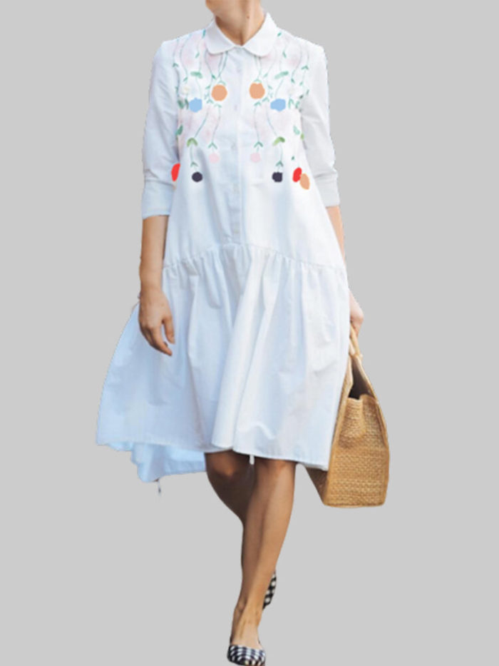 Flowers Print Lapel Button Plus Size Shirt Dress