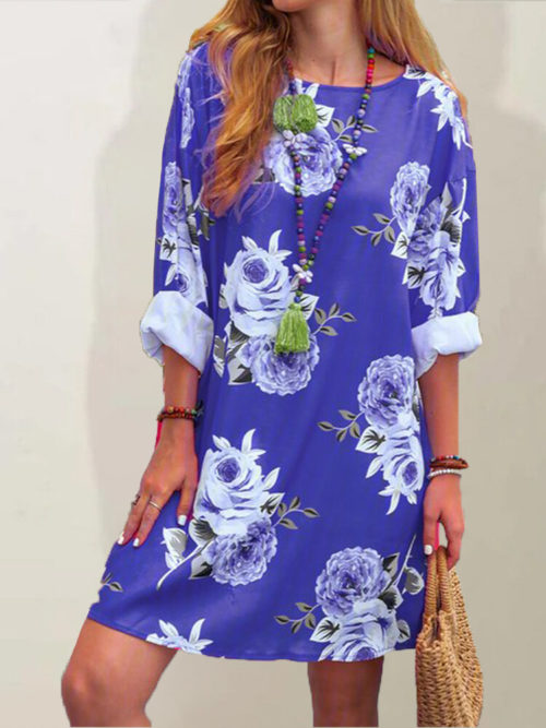 Flowers Print Long Sleeve A-line Plus Size Dress