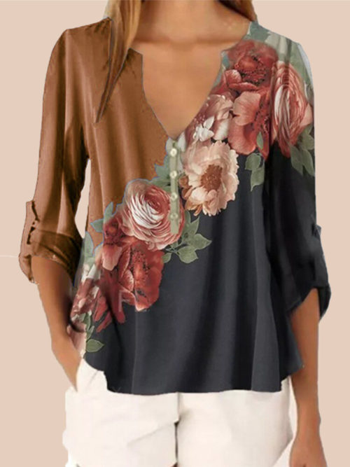 Flowers Print Patchwork V-neck Plus Size T-shirt