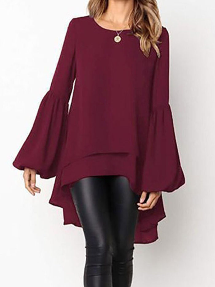 Front Two-layer Lantern Sleeves Long-sleeved Hem Stitching Blouse