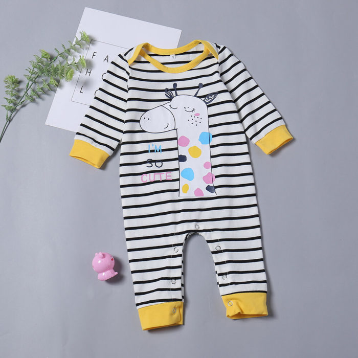 Giraffe Print Stripe Baby Long Sleeve Cotton Romper For 0-24M