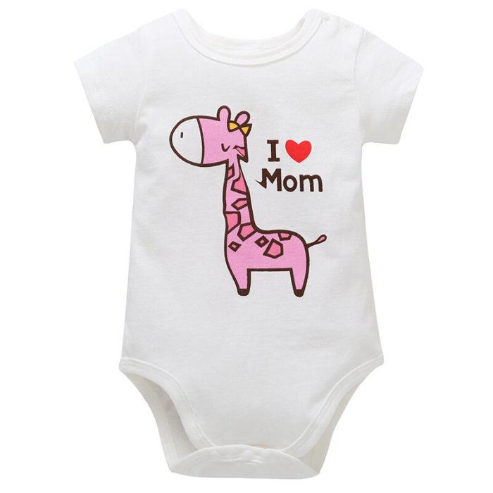 Giraffe Printed Unisex Baby Summer Romper For 0-24M