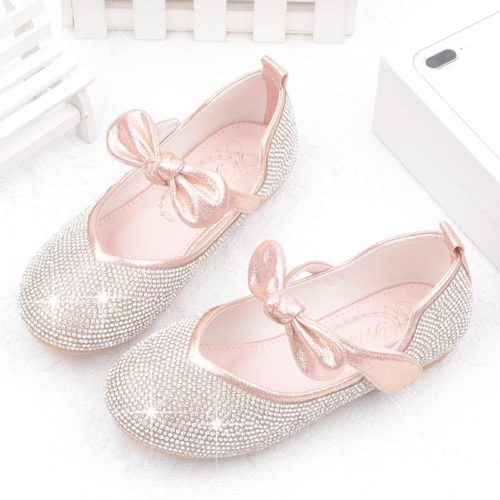 Girls Bling Upper Bowknot Frozenly Elsa Princess Rhinestone Flat Shoes