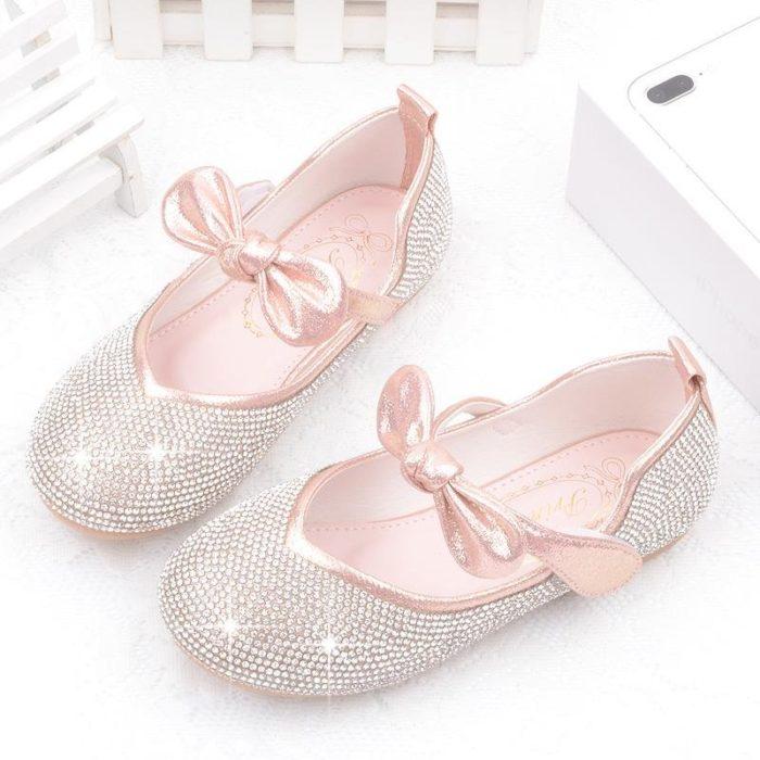 Girls Bling Upper Bowknot Frozenly Elsa Princess Rhinestone Flat Shoes