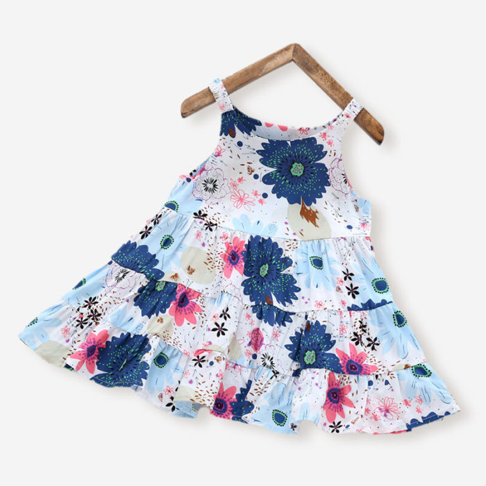 Girl's Blue Flower Sleeveless Ruffled Casual Slip Dress For 3-10Y