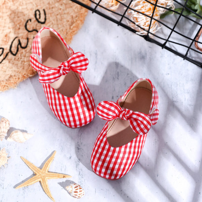 Girls Bow Decor Gingham Non Slip Hook Loop Flat Loafers