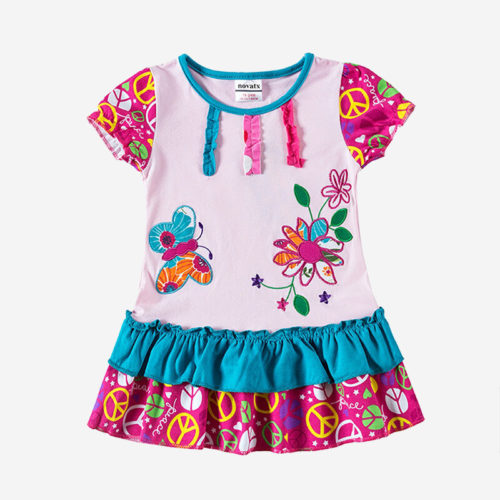 Girl's Butterfly Flower Embroidery Spliced Short-sleeved Casual Dress For 1-7Y