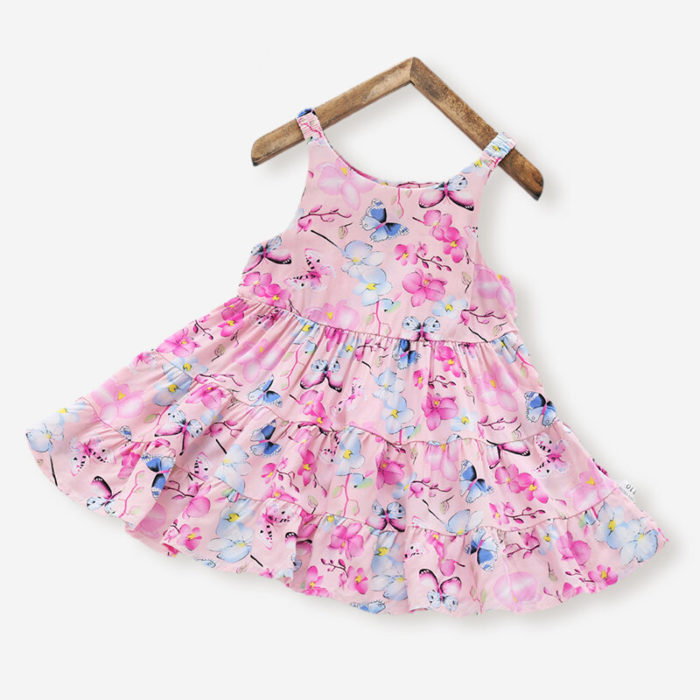 Girl's Butterfly Flower Sleeveless Ruffled Casual Slip Dress For 3-10Y