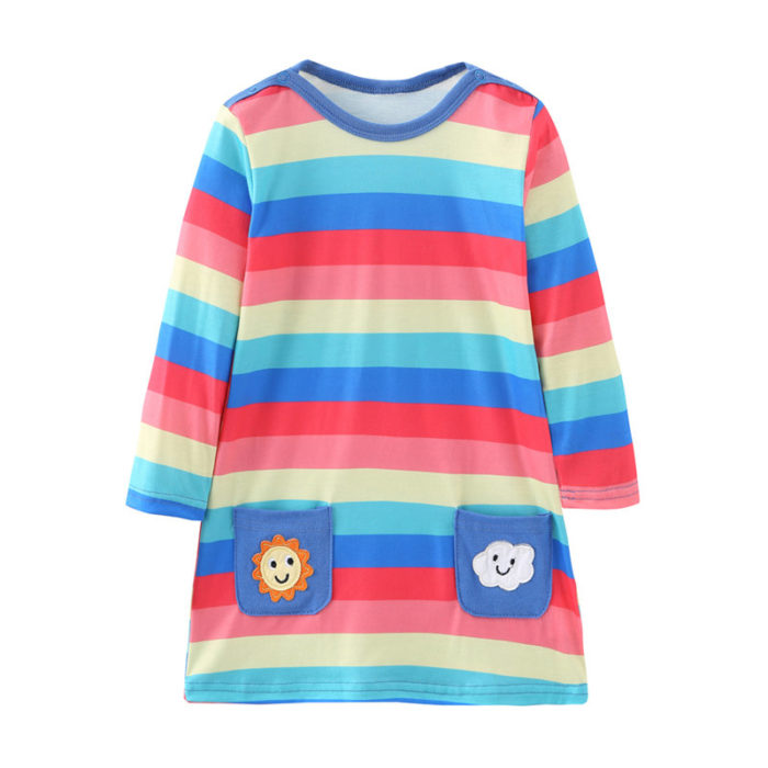 Girl's Cartoon Colorful Striped Long Sleeves Casual Dress For 1-7Y