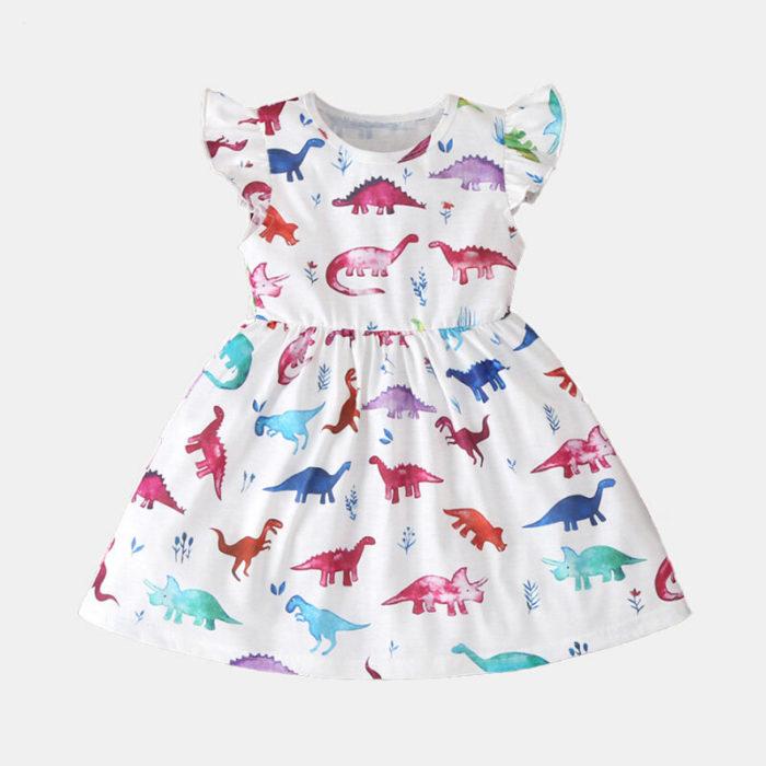 Girl's Cartoon Print Flying Sleeves Casual Dress For 2-8Y