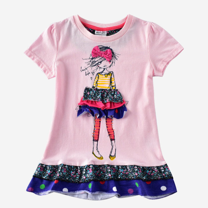 Girls Cartoon Print Spliced Short-sleeved Casual Dress For 2-7Y