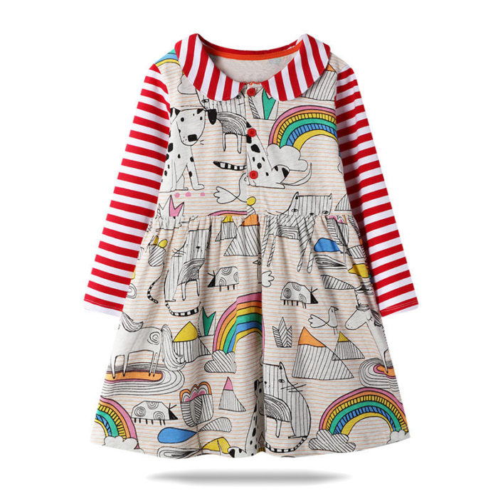 Girl's Cartoon Rainbow Print Striped Long Sleeves Casual Dress For 1-7Y