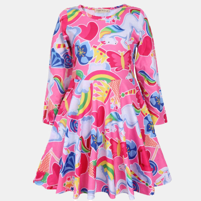 Girl's Cartoon Unicorn Print Long-sleeved Casual Dress For 4-13Y