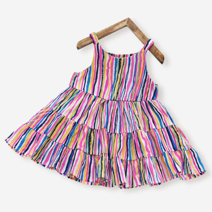 Girl's Colorful Striped Print Casual Sleeveless Slip Dress For 3-10Y