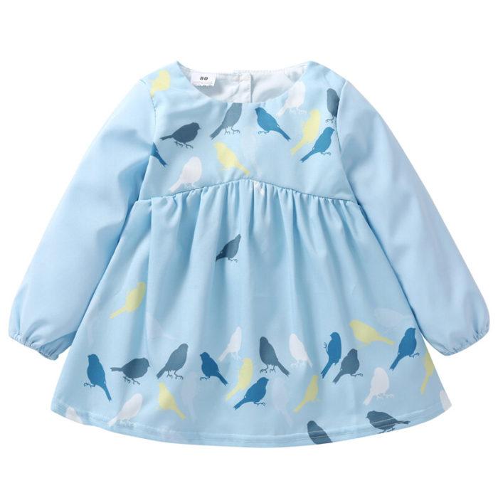 Girl's Cute Bird PrintLong-sleeved Ruffle Casual Dress For 1-5Y
