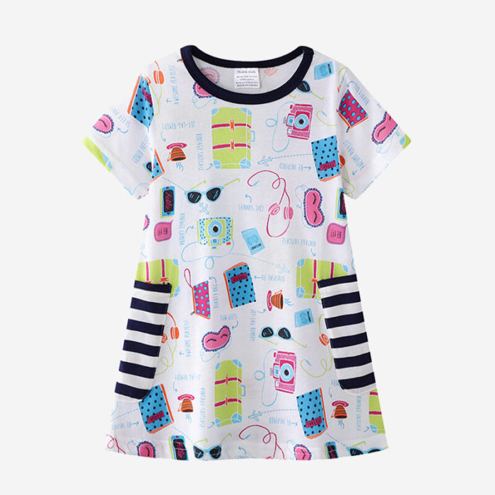Girl's Cute Cartoon Striped Print Short Sleeves Casual Dress For 1-8Y