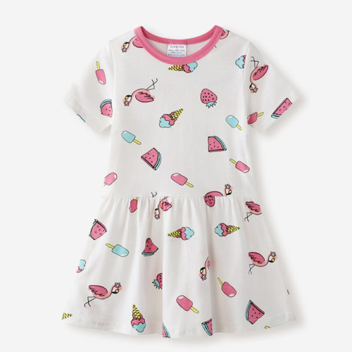 Girl's Cute Ice Cream Fruit Print Short Sleeves Casual Dress For 1-8Y