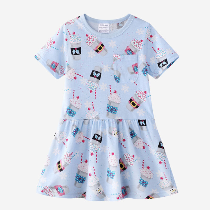 Girl's Cute Ice Cream Print Short Sleeves Casual Dress For 1-8Y