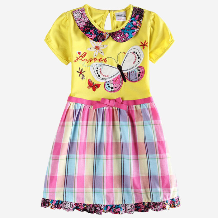 Girl's Embroidery Butterfly Plaid Print Short-sleeved Casual Dress For 1-7Y