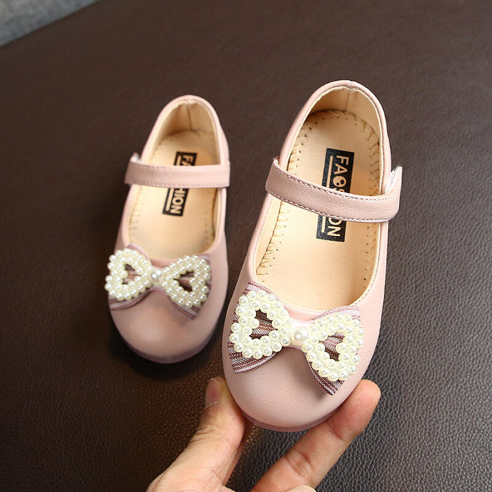 Girls Faux Pearl Bowknot Decor Soft Sole Mary Jane Loafers
