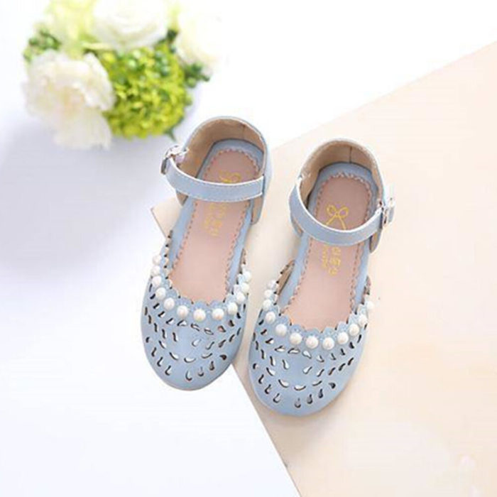 Girls Faux Pearl Decor Comfy Soft Sole Princess Mary Jane Loafers