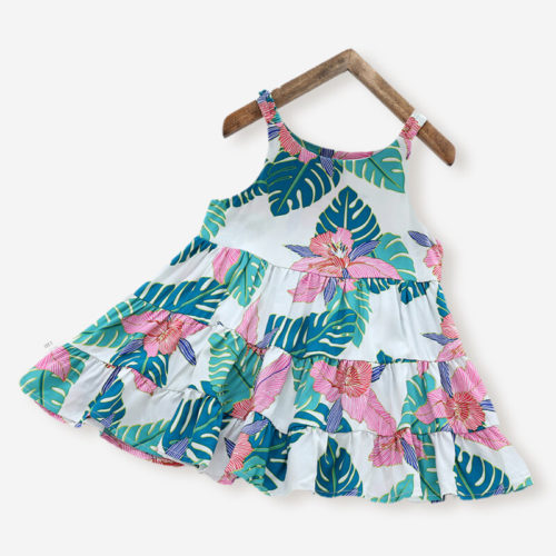 Girl's Flower Leaf Print Sleeveless Ruffled Casual Slip Dress For 3-10Y