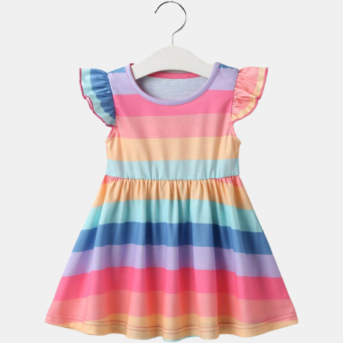 Girl's Flying Sleeves Colorful Striped Print Casual Dress For 1-10Y