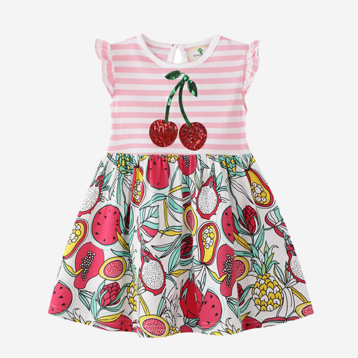 Girl's Flying Sleeves Striped Colorful Cherry Print Sequined Casual Dress For 2-10Y
