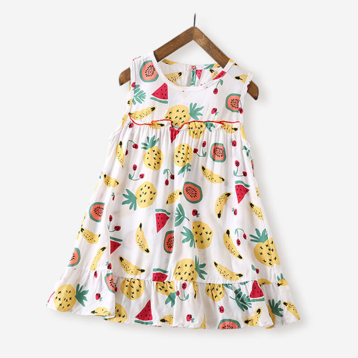 Girl's Fruit Print Sleeveless Casual Dress For 3-10Y