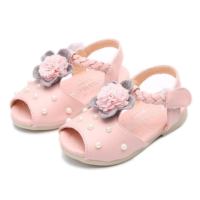 Girls Lovely Flower Beading Decor Peep Toe Hook Loop Sweet Sandals