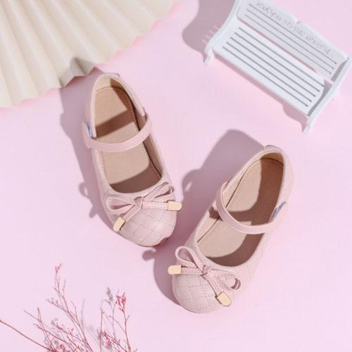 Girls Microfiber Bow Decor Comfy Non Slip Flat Loafers