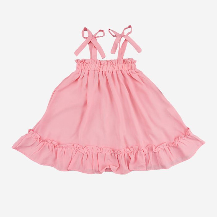 Girl's Pink Ruffled Sleeveless Casual Suspender Dress For 1-7Y