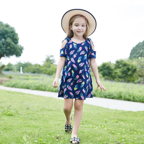 Girls Printed Off Shoulder Holiday Cotton Casual Dress For 1Y-9Y