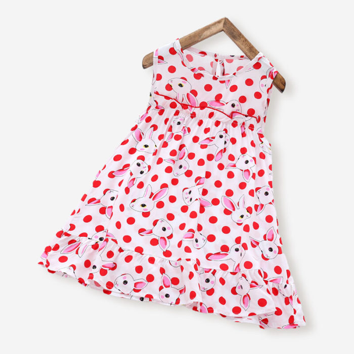 Girl's Rabbits Dot Print Sleeveless Ruffled Casual Dress For 3-10Y