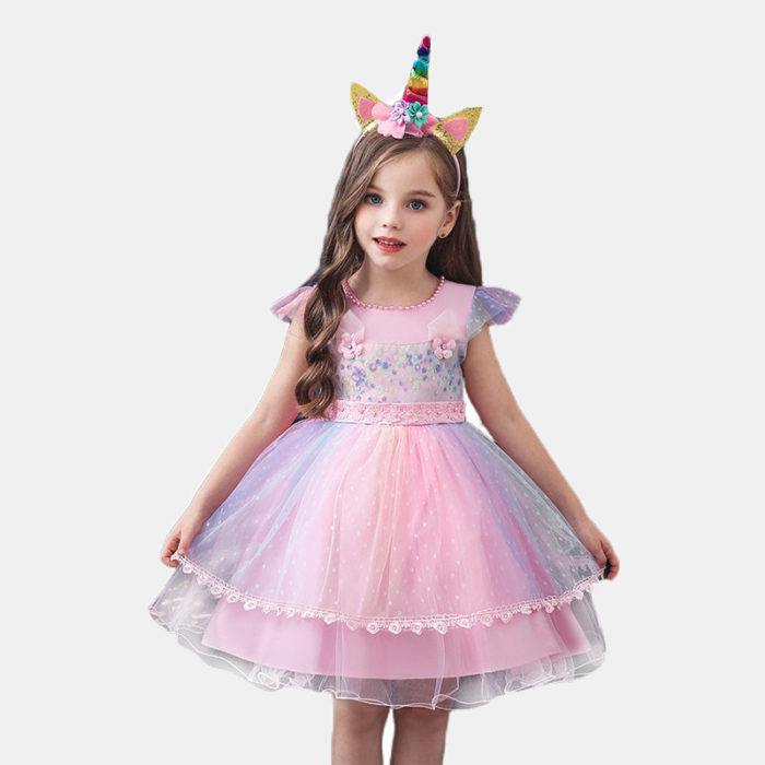 Girl's Rainbow Tulle Flying Sleeves+Unicorn Headwear Princess Wedding Formal Dress For 1-7Y