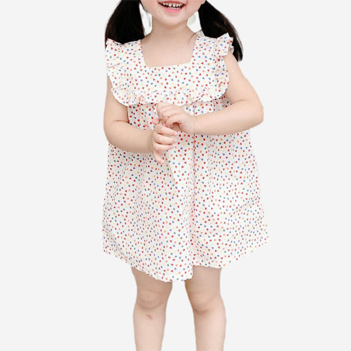 Girl's Ruffle Square Collar Sleeveless Colorful Love Print Casual Dress For 1-8Y