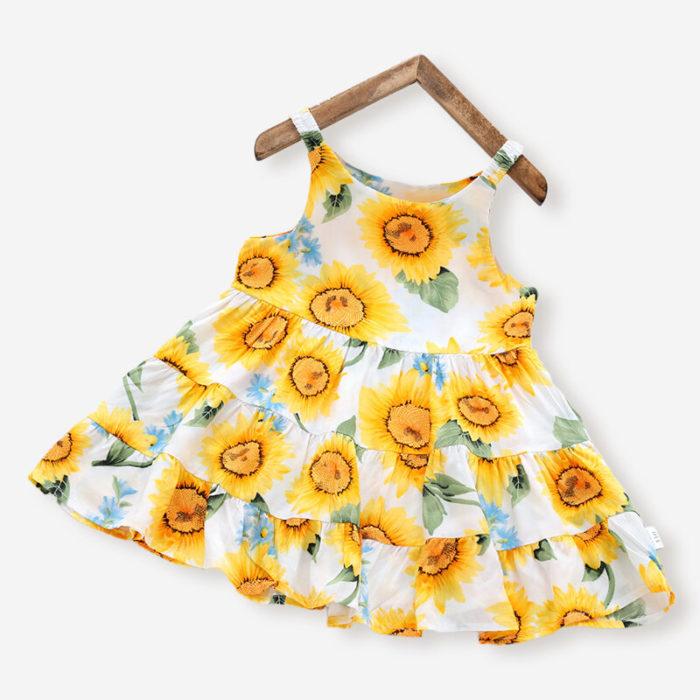 Girl's Sunflower Print Sleeveless Casual Slip Dress For 3-10Y