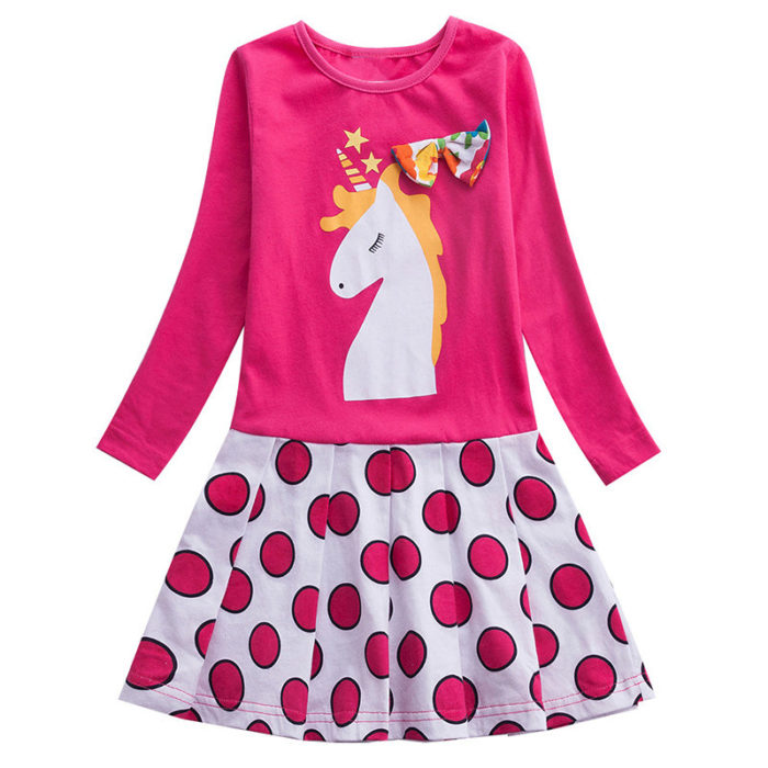 Girl's Unicorn Dot Print Long Sleeves Patchwork Casual Pleated Dress For 2-9Y
