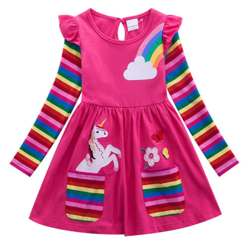 Girls Unicorn Rainbow Stripe Print Casual Dress For 2-9Y