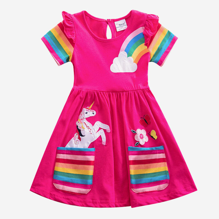 Girls Unicorn Rainbow Stripe Print Short-sleeved Casual Dress For 3-8Y