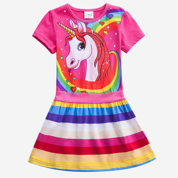 Girls Unicorn Rainbow Striped Print Short-sleeved Casual Dress For 3-8Y