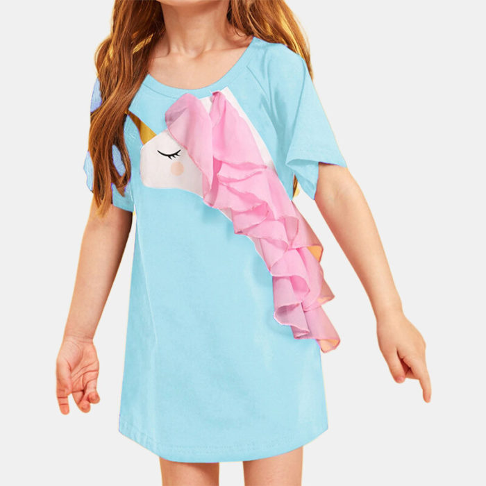 Girl's Unicorn Tulle Splice Short Sleeves Casual Dress For 1-7Y