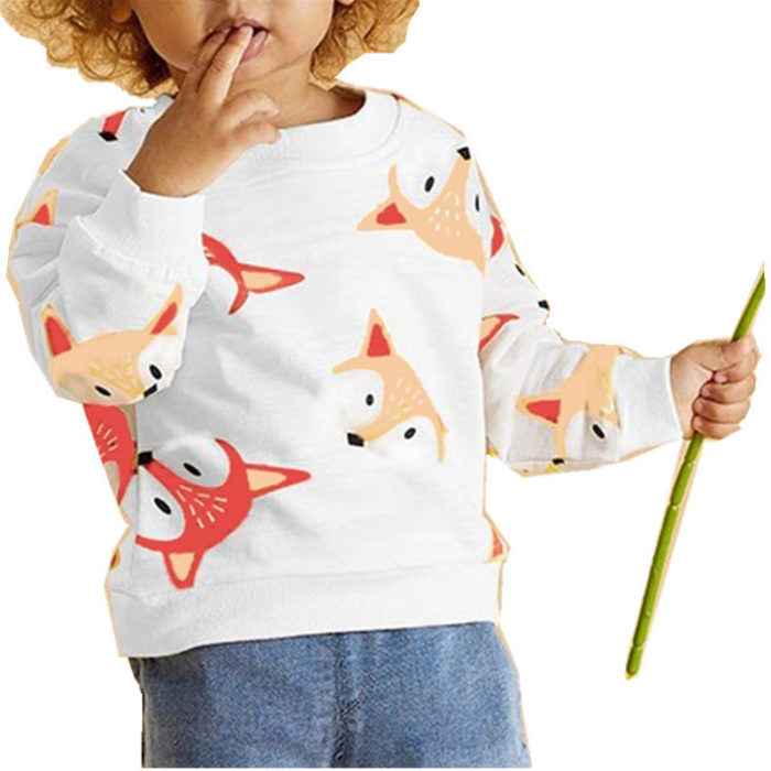 Girl's and Boy's Animal Cartoon Print Long Sleeves Casual Sweatershirt For 1-7Y