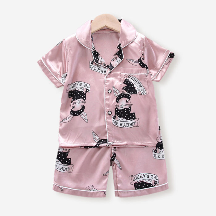 Girl's and Boy's Cartoon Print Short-sleeved Button Pajama Set For 2-10Y